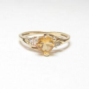 Estate 10K Yellow Gold 0.80 Ct Natural Heart Orange CItrine Cubic Zirconia Ring
