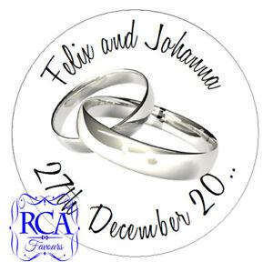 140 x Personalised Wedding Day 25mm Sticker Envelope Seals RINGS Design