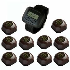 SINGCALL Wireless Pager Systems 10 One Button Waiter Bells 1 Watch Receiver