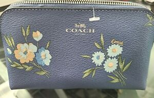 NWT Coach Daisy Cosmetic Case 17 Periwinkle Blue Daisy Cute Zip Up Case  #F73019