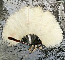 Large Antique Ostrich Feather & Faux Tortoiseshell Hand Fan