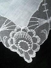 Vintage Wedding Hankie Netting Lace Edge Handkerchief Bridal Hanky 506