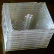 Lot of 10 New, Standard-Thickness, Double (2 Discs), Clear, Empty CD Jewel Cases