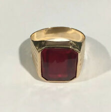 14k Yellow Gold Men's Ring With A Ruby Stone