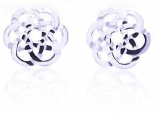 Sterling Silver Celtic Round Intricate Knotwork Design Stud Earrings 12mm