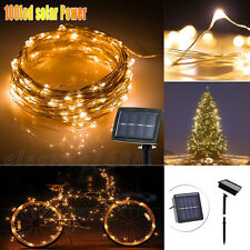 100 LED Solar Powered Fairy String Strip Light Xmas Garden Party Lamp Warm 10m