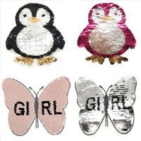 Butterfly Penguin Reversible Change color Sequins Sew On Patches For Clothes DIY