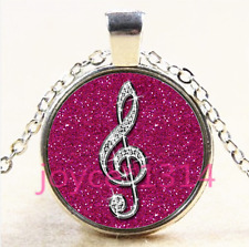 Pink Diamond Musical Note CABOCHON Silver Glass Chain Pendant Necklace #3936
