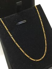 18ct 18K Yellow Gold Italian Figaro Chain Necklace 2.4 Grams 47cm. Brand New