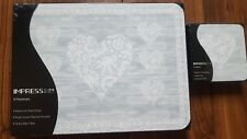 NEW SET 6 DUCKEGG BLUE LOVE HEART DINING TABLE PLACEMATS & COASTERS PLACE MATS