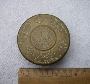 Early DUTCH BRASS Chased ROUND SNUFF BOX-Soldier Lid-Scenic Sides and Back