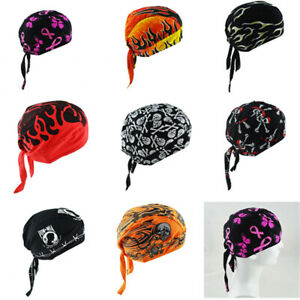 Cotton Biker Skull Cap Motorcycle Bandana Head Wrap Du Doo Do Rag Black Men Hat