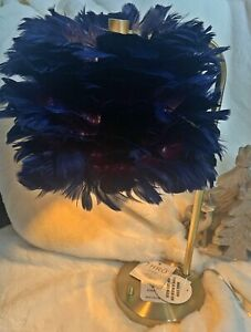 Marlo Lorenz Navy Blue FEATHER Chic Gold Table Lamp with Built-in Usb Port NWT