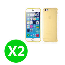 Two PC Gold iPhone 6Plus / 6s Plus Gel Case Cover Ultra Thin Full Body Case