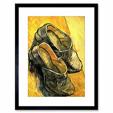 Painting Van Gogh Pair Leather Clogs Framed Print 9x7 Inch