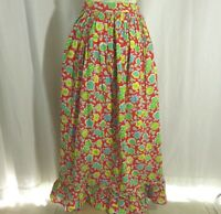 Vintage 1960s Hippie Boho Peasant Festival Skirt Floral Red Yellow Blue Green
