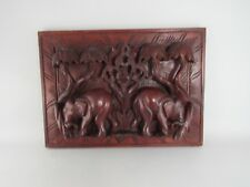 """Vintage Hand Carved Wood Relief Panel Elephants 16"""" by 13"""""""