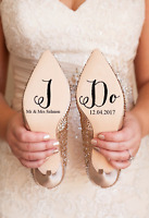 Personalised 'I Do' Wedding Shoe Vinyl Decal Stickers Bridal Gift Name & Date