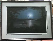"JESSE BARNES ""NIGHT ON THE MISSISSIPPI"" HAND SIGNED LE FRAMED MATTED  PRINT COA"