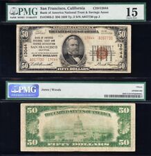 Awesome *RARE* TYPE 2 Choice Fine 1929 $50 SAN FRANCISCO, CA Note PMG 15!