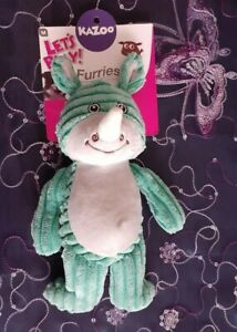 Kazoo Softies Furries Funky Green Rhino Dog Toy Medium, Free Post