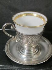 Lenox Sterling 3Pc Demitasse Or Egg Cup Set With China Liner
