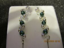 Pr Green Glass Pearl Ear Vines Climbers Ear Pins Sterling Silver Filled Wire 3