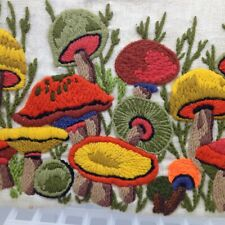 Vintage Crewel embroidered Mushroom 1970s 70s Panoramic Picture 19x9