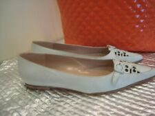 MANOLO BLAHNIK FLAT LEATHER SHOES. SIZE 37.5. NEW.
