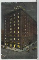 NY Hotel Rochester by Night 1910 Rochester to Warsaw New York Postcard M6