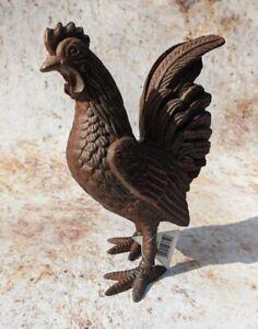Cockerel Rooster Hen Cast Iron Freestanding Metal Ornament Rustic