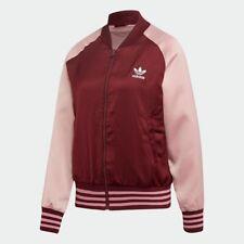 Adidas Originals Women's SATIN BOMBER TRACK JACKET Maroon/Pink Spirit ED4787 d