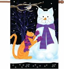 "Snow Cat Snowman House Flag Large 40"" x 28"""