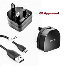 HTC Mains Adaptor Charger Plug and Micro USB Cable Black For HTC BLACKBERRY