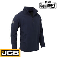 JCB Essential Mens Navy Blue Micro Fleece 1/4 Zip Jacket Mid Layer Warm Work New