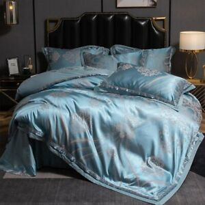 Luxury Silky Satin Jacquard Bedding Set 4Pcs King Size Embroidery ComforterCover