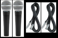 (2) New Shure SM58 Vocal Mics & Cables Authorised Dealer Make Offer Buy It Now!