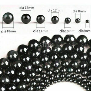New Natural Gemstone Black Obsidian Stone Round Loose Beads 6/8/10/12/14/16/18mm
