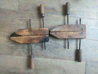 "2 ~ Vintage Jorgensen 10"" Adjustable Wood Screw Clamp Vise Woodworking Tools 👀"