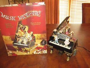 """Enesco Music Box """"Music Mice Tro"""" w/ Box Grand Piano Mice Polonaise   (F737)"""