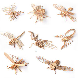 Wooden 3D Insect Model Puzzles DIY Assembly Crafts Education Kids Toy Jigsaw