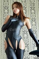 3PCS Sexy Women Black Lingerie Leather Catsuit Bodysuit Crotchless Tights Gloves