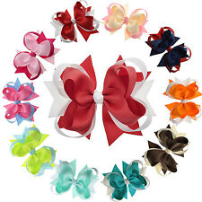 """4.5"""" Multi Color Stacked Hair Bows with Clip for Girls Toddlers Kids Pack of 12"""