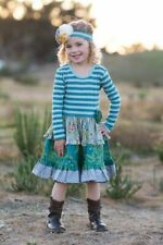 Giggle Moon Loving Deer  Hannah dress Green Stripe & Multi Floral NWT Girls sz 7