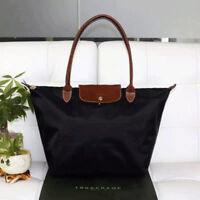 Auth Longchamp Bag Le Pliage Nylon Large Tote Leather Strap Handbag Black Large