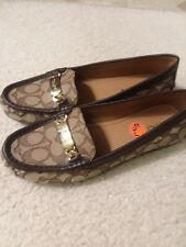 New Woman's COACH Olive Logo Brown Oxford Loafer Slide On Shoe Brown Size  9