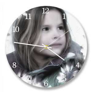 Personalized circle wall clock with your own photo. Custom photo printed gift