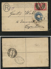 Transvaal  postal envelope registered 1905 to Capetown uprated      AT0601