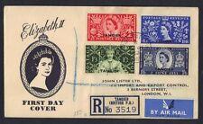 UK GB TANGIER 1953 CORONATION ELIZABETH II REGISTERED FDC COVER TO LONDON