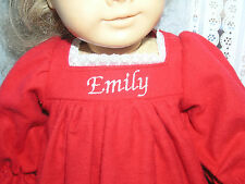 """Emily Embroidered Name Red Flannel Nightgown 18"""" Doll clothes fit American Girl"""